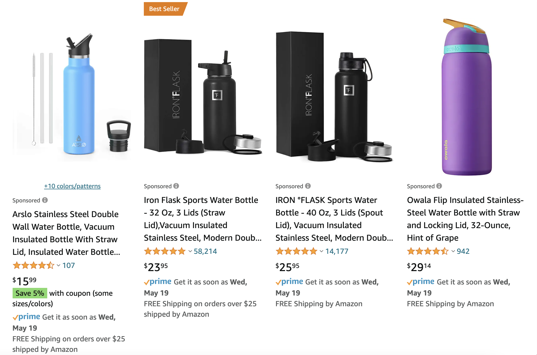 Amazon PPC ads: example of Amazon sponsored listings for insulated water bottles