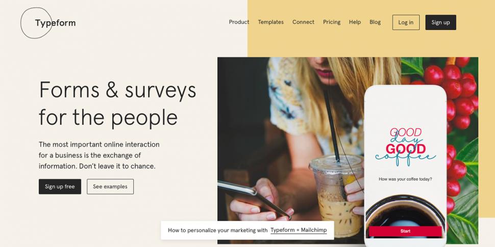 typeform product feedback tool homepage