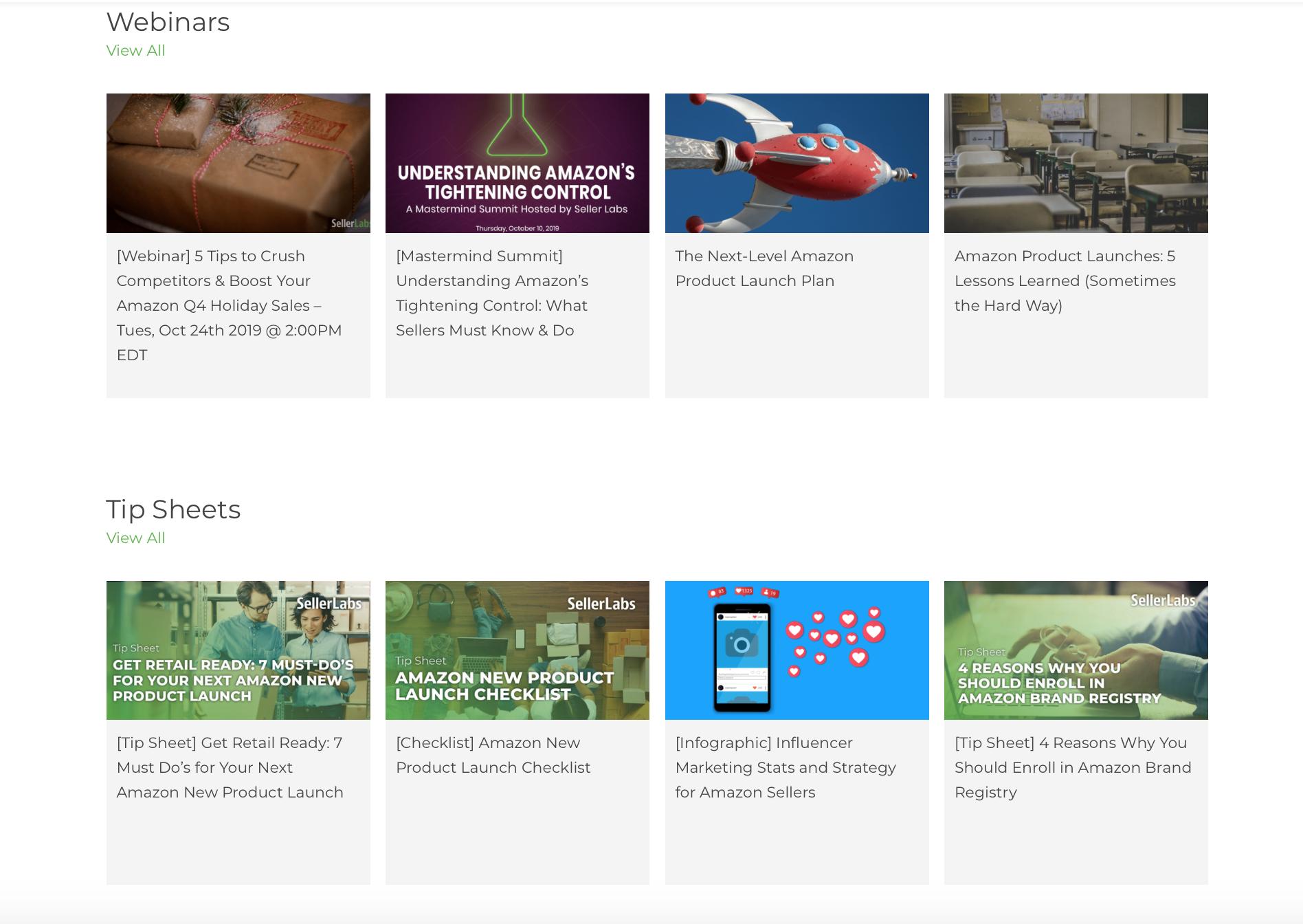 Amazon feedback tools: Screenshot of Feedback Genius resources page