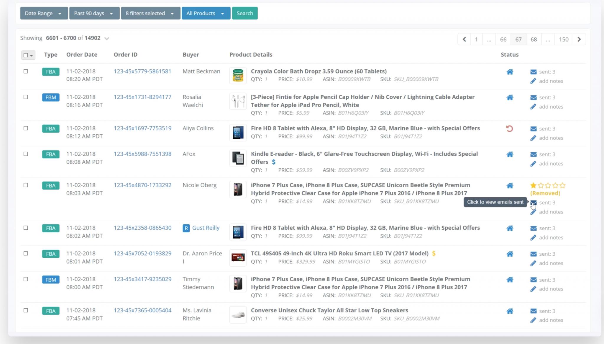Amazon feedback tools: screenshot of FeedbackWhiz
