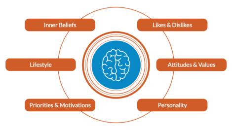 a 6 trait breakdown diagram in orange that explains what psychographic segmentation is and the understanding behind it. THere's a brain in the middle of the diagram