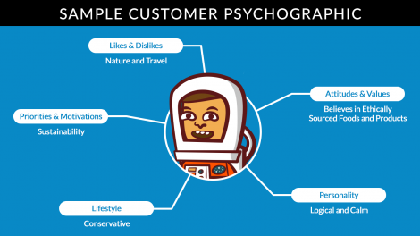 A little cartoon with 5 specific traits that are under the umbrella of a psychographic profile. This is a sample customer psychographic.
