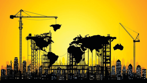 An image of the world with a yellow background, but cities and cranes creating connections. It is a metaphor to explain the change in times and how we're all connected.