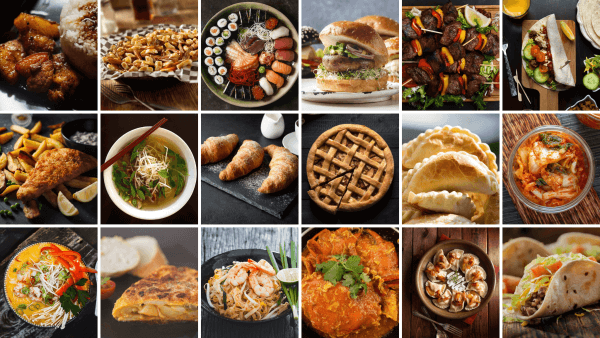 A mosaic of different food for different cultures, to showcase how people eat differently based off their geo and beliefs.