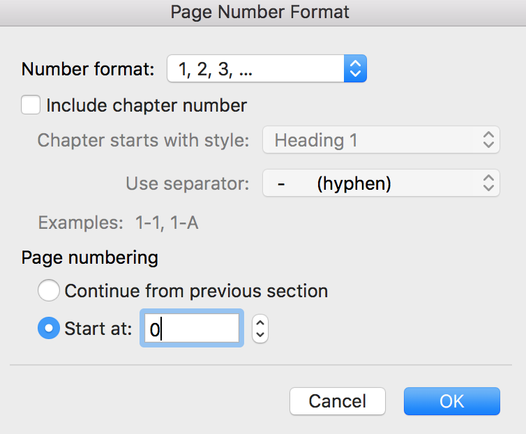 How to write a book in Word - Page number format