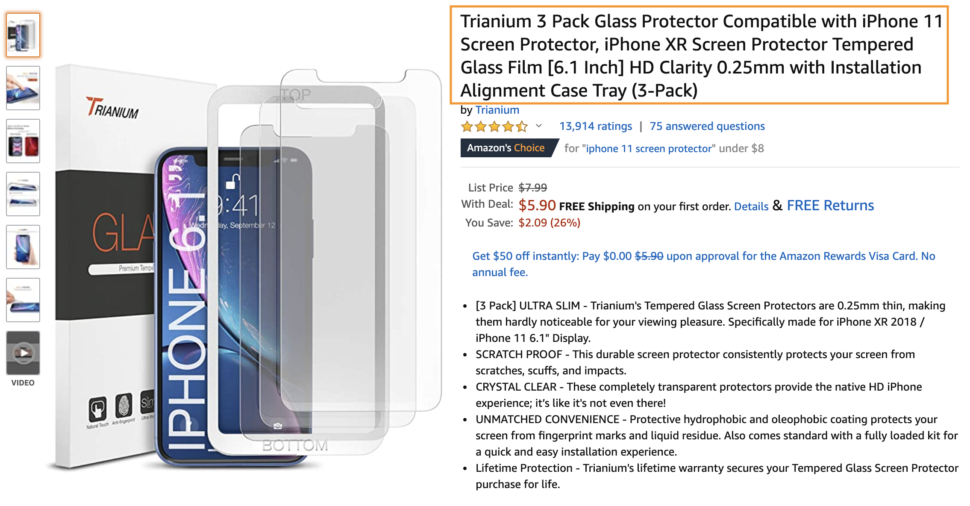 How to optimize your Amazon listing - Product title screenshot