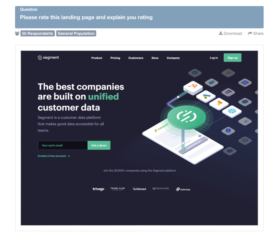 How to conduct e-commerce website testing: Screenshot of company's landing page poll