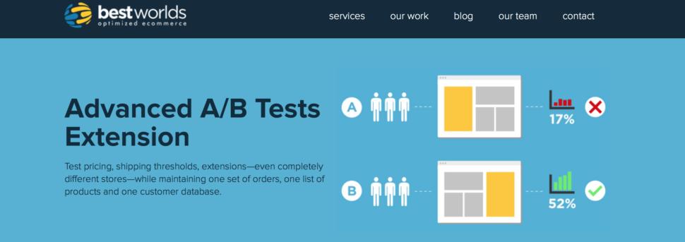 Magento A/B testing: Best Worlds screenshot