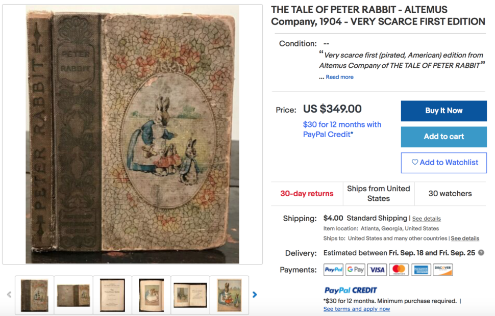eBay product sourcing: Rare book example