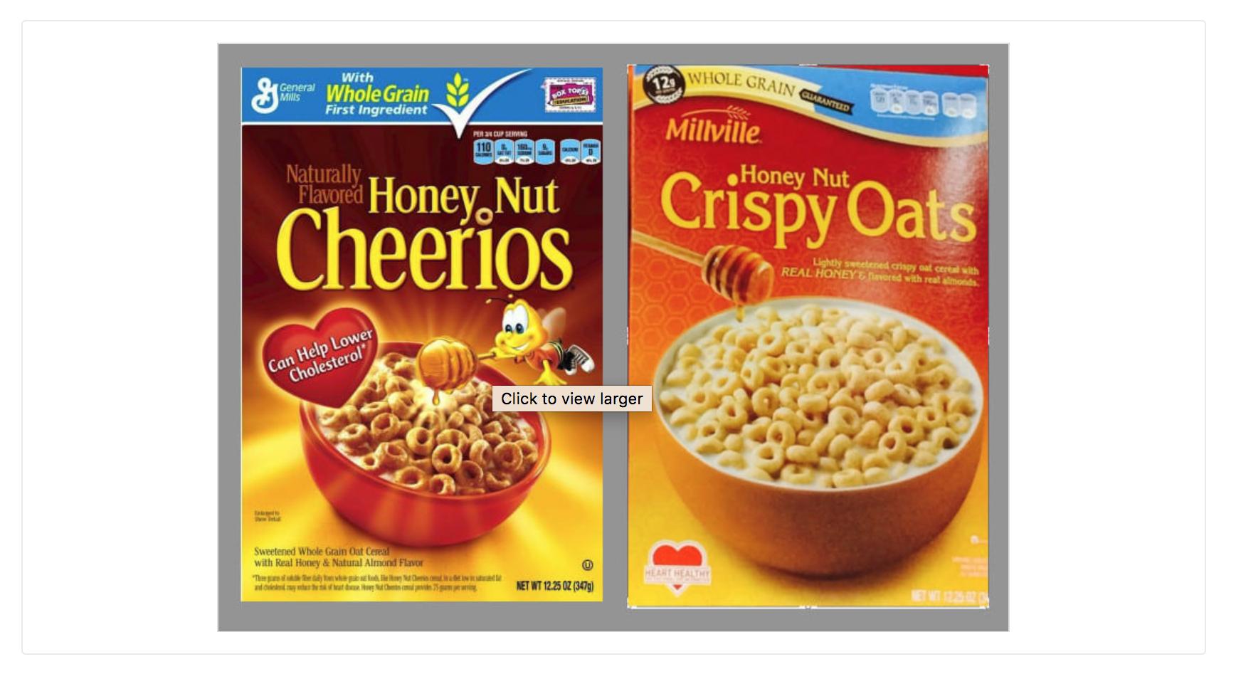 Screenshot comparing breakfast cereals