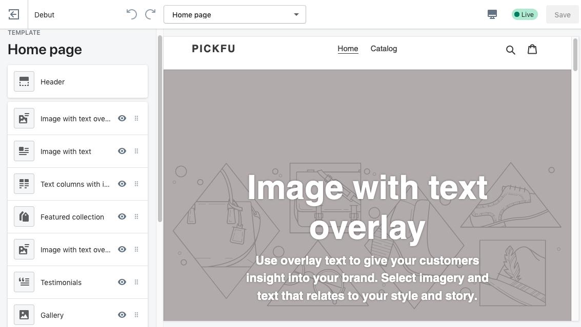 Screenshot of a sample PickFu homepage made using Shopify