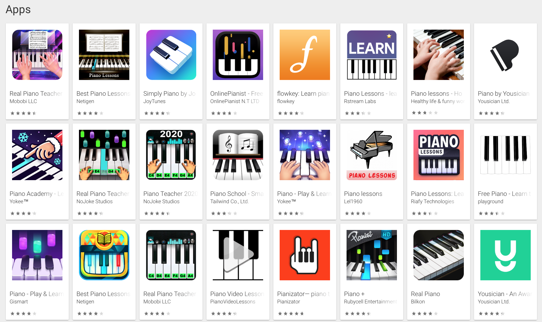 Mobile app optimization: Screenshot of a search results page on the Google Play store
