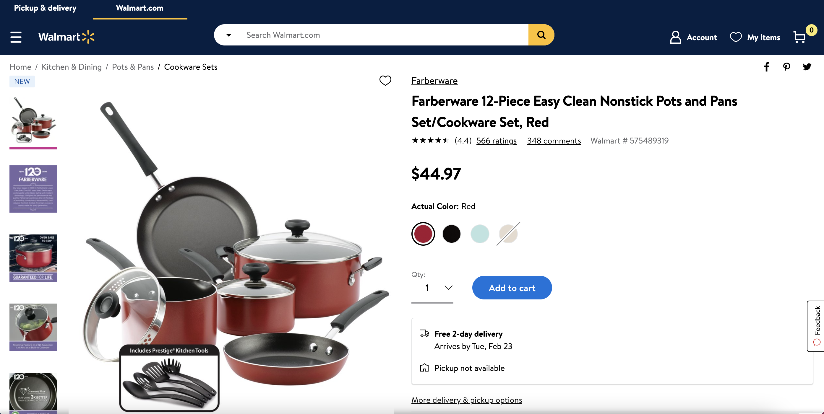How to drive traffic to your Walmart listing: example of a Walmart listing for cookware