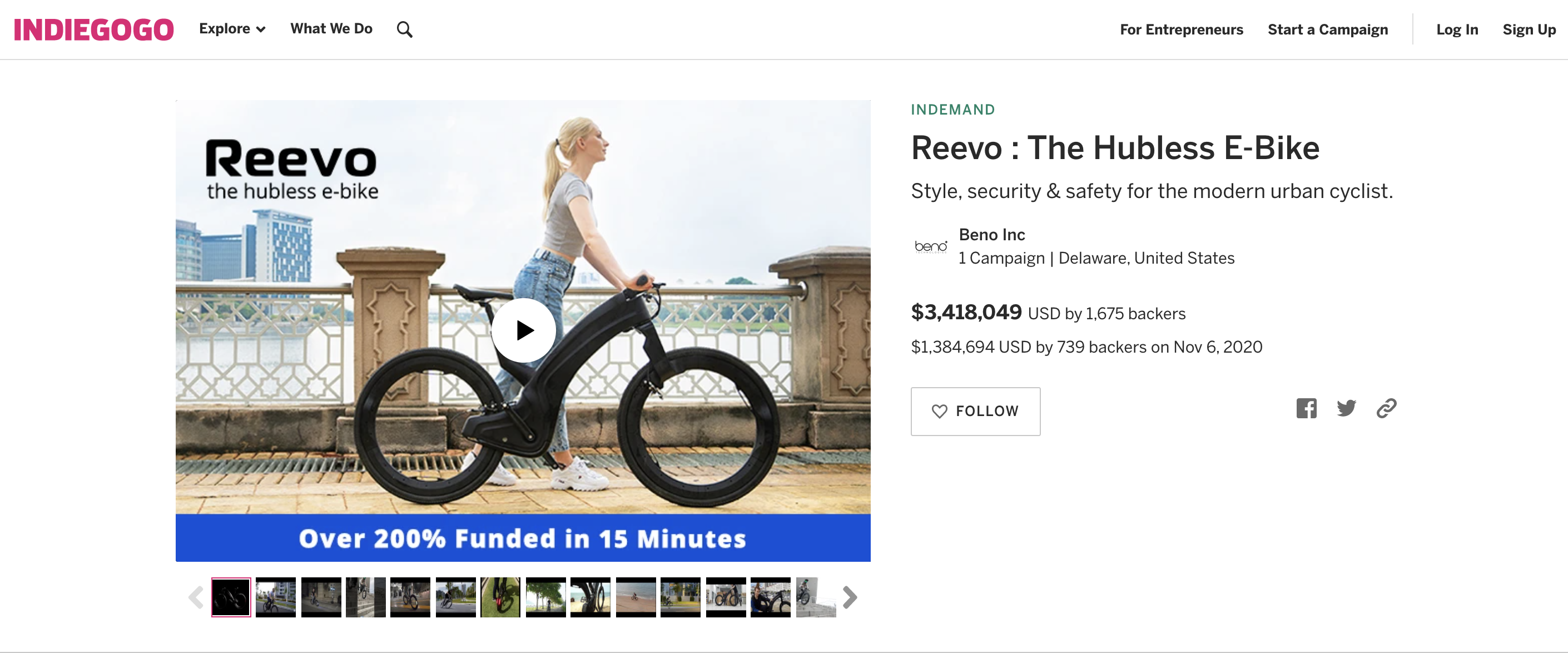 How to launch a successful crowdfunding campaign: the Indiegogo campaign for the Reevo hubless bike