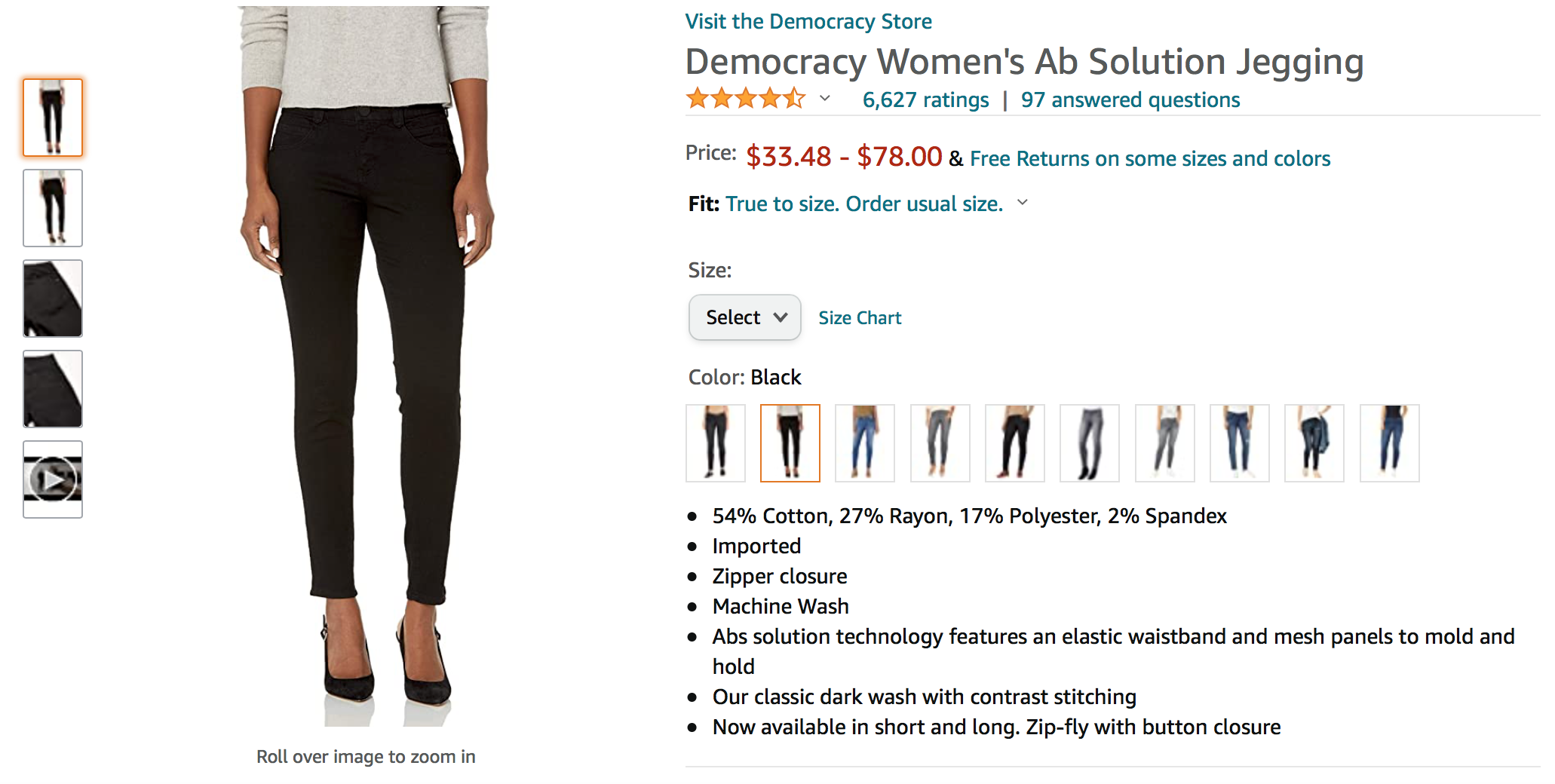 A woman models a pair of jeans from Democracy in a screen shot of an Amazon product