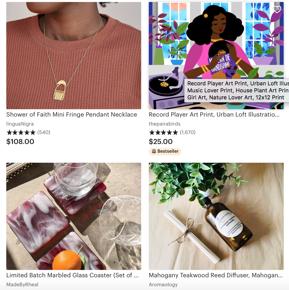Best sizing for Etsy listing photos: Four thumbnail shots from Etsy featuring Black-owned shops