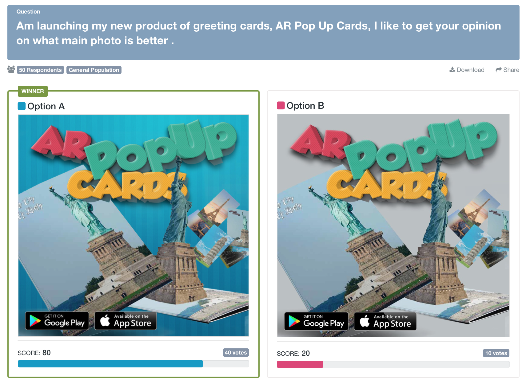 A screenshot of a PickFu poll showing two different main images for pop-up-greeting cards.