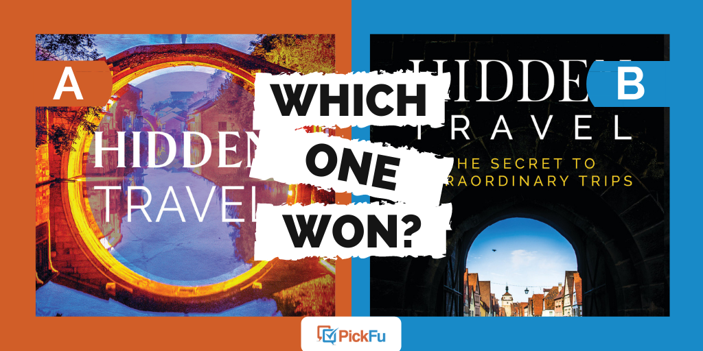"""A cover image that says """"Which One Won"""" and has two options, orange """"A"""" and blue """"B,"""" with two different cover images inside."""