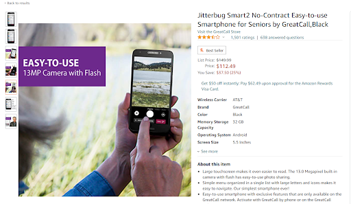 Baby boomer marketing: Product image of Jitterbug smartphone for older consumers
