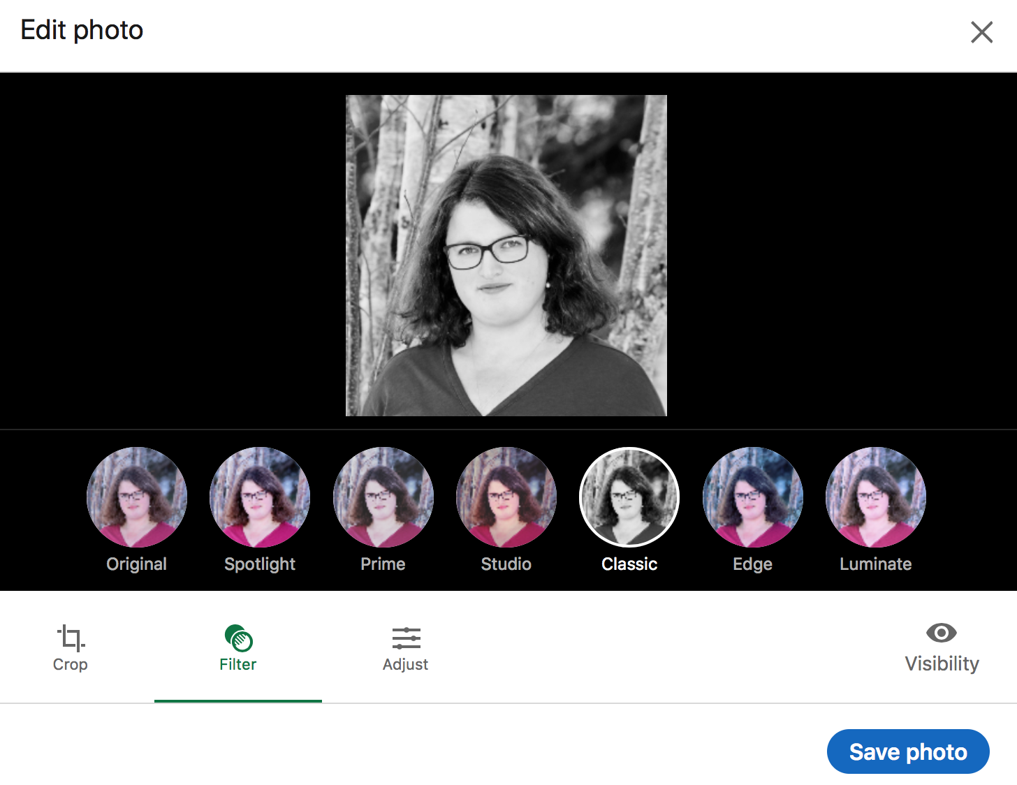 A screenshot of LinkedIn's six filters for a profile photo.