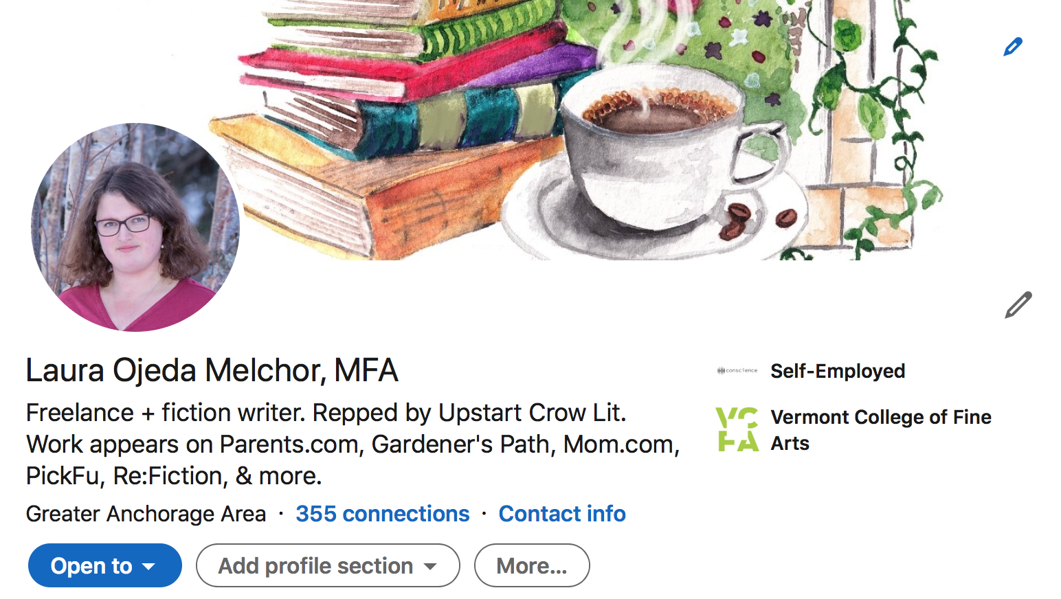 A screenshot of a writer's LinkedIn page with an updated cover photo
