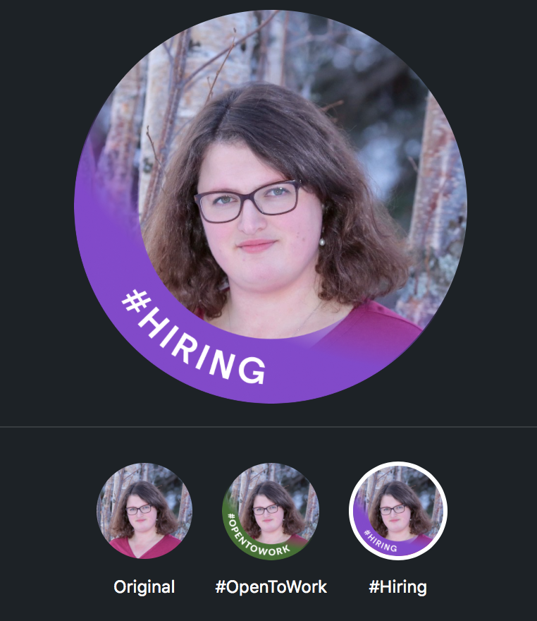 """A LinkedIn profile photo of a woman with brown hair and glasses with a banner that reads """"#HIRING."""""""