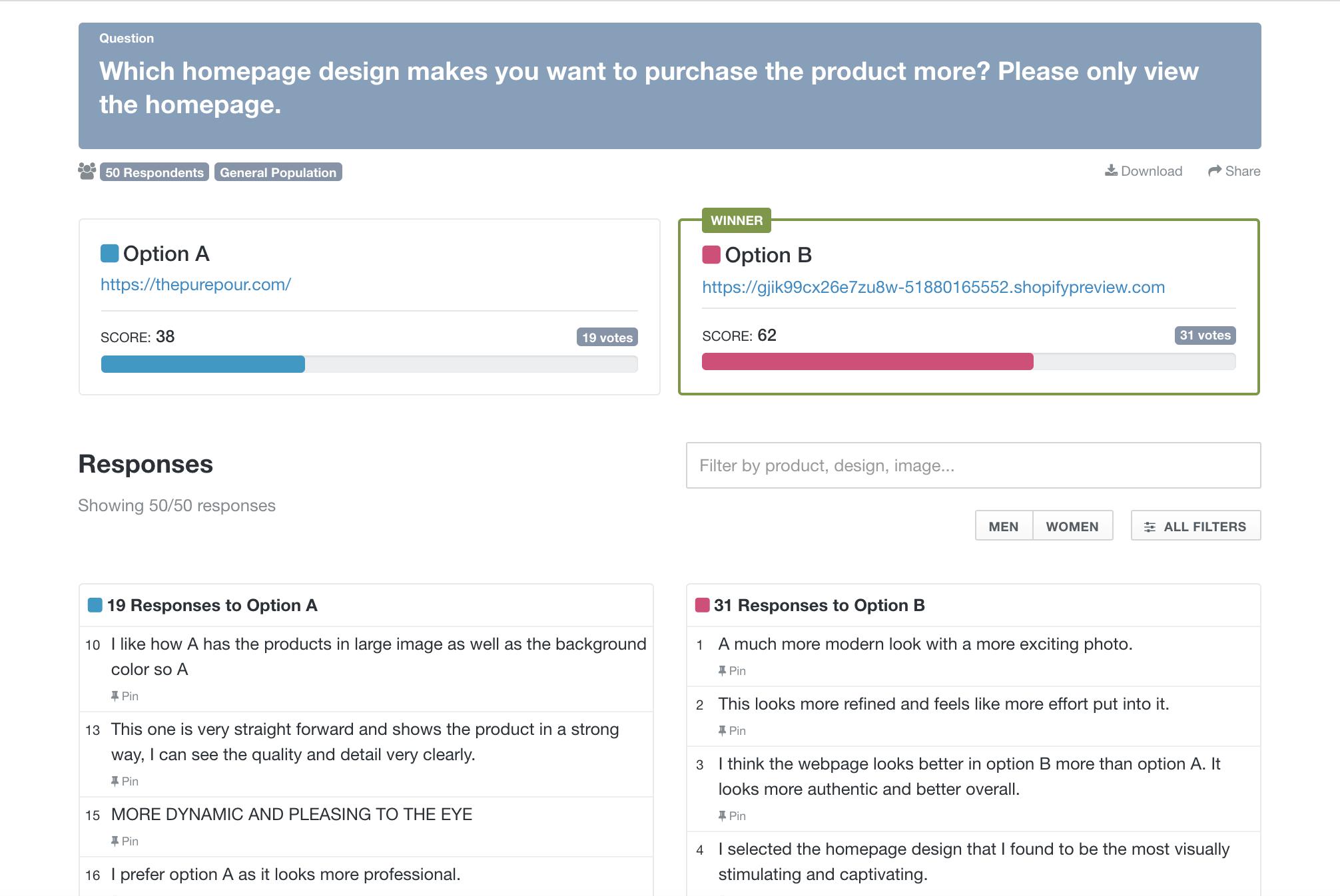 Website feedback tools: screenshot of PickFu poll asking for feedback on two website homepage designs