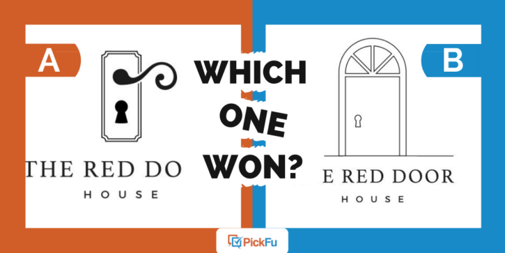 """An image that says """"Which One Won"""" that shows two Options of a logo."""