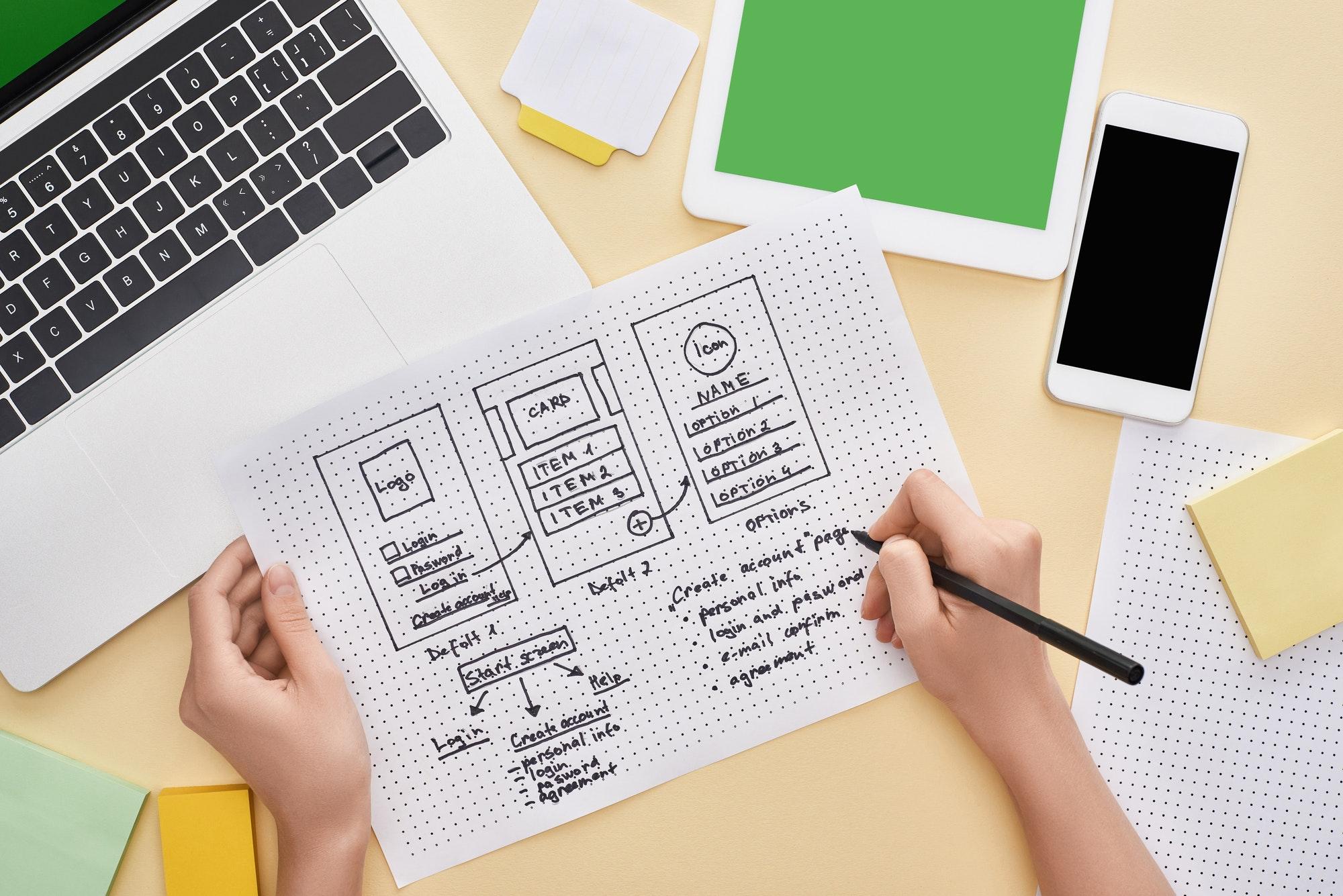 Website feedback tools: view of a website designer's templates