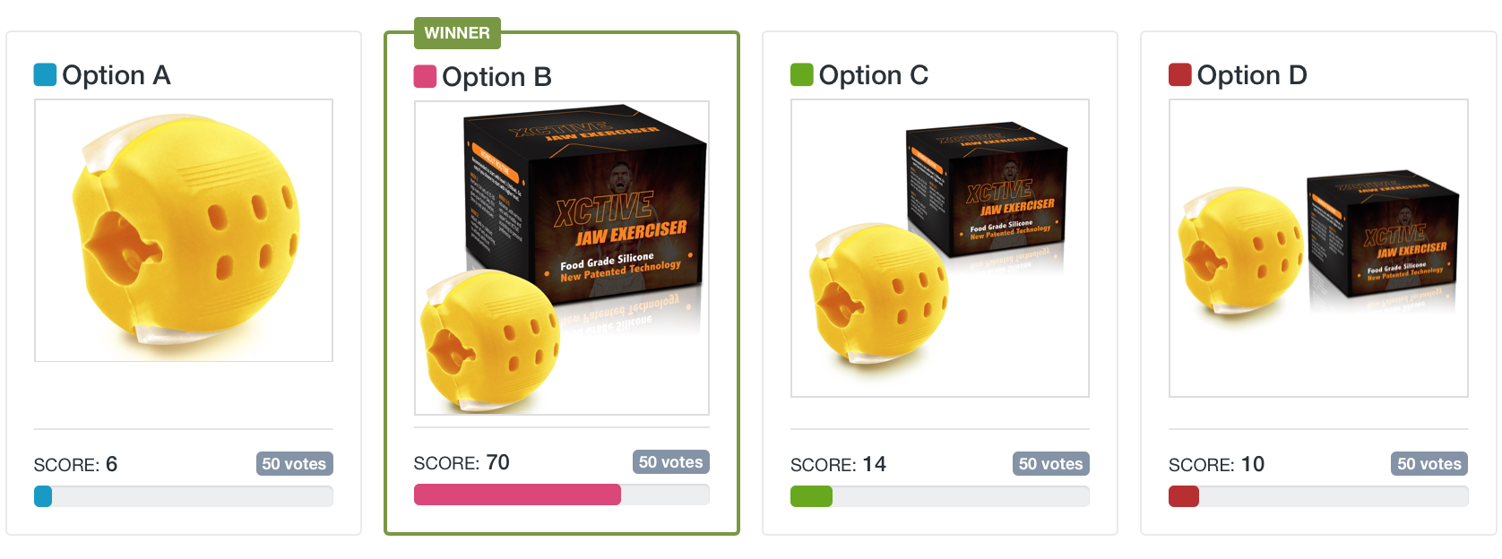 How to sell on Walmart Marketplace: PickFu poll testing four main image options for a yellow jaw exerciser