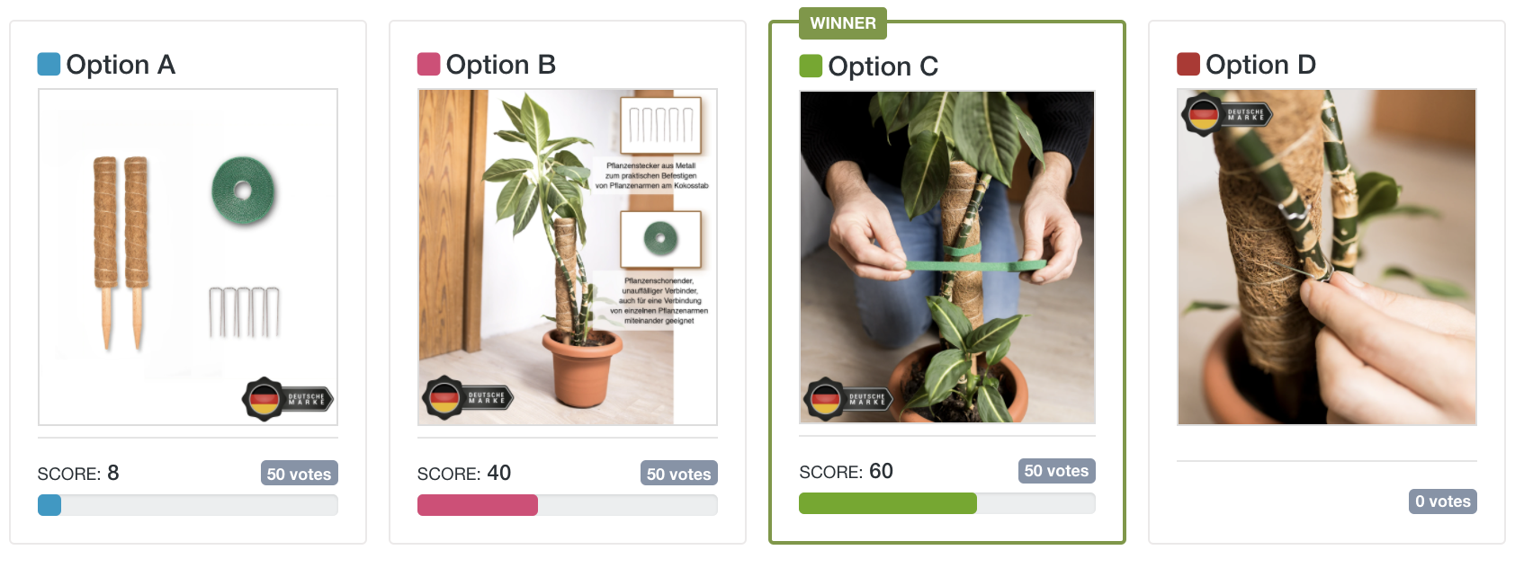 Which One Won: first set of gardening products image test options