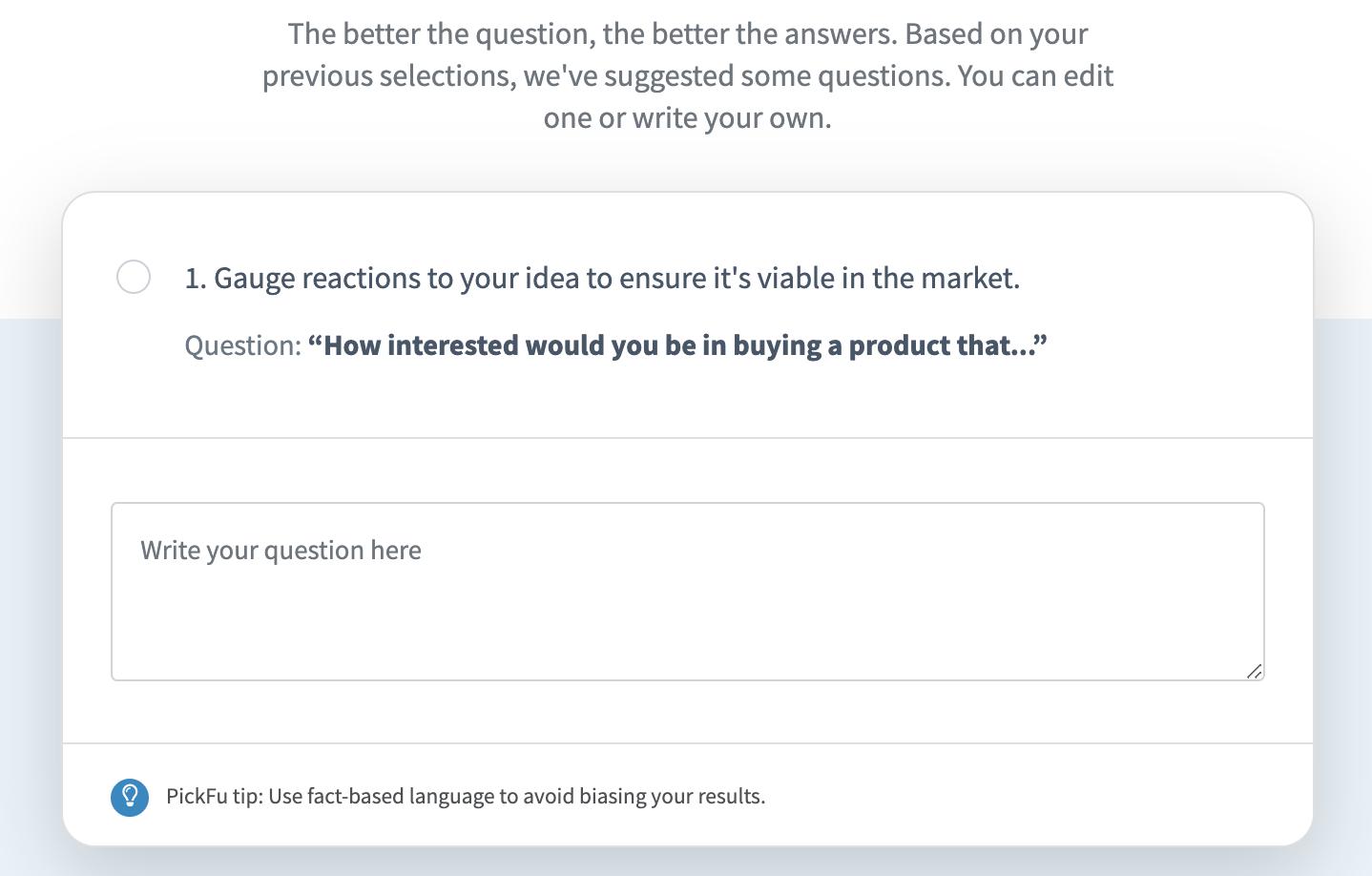 PickFu open-ended poll screenshot