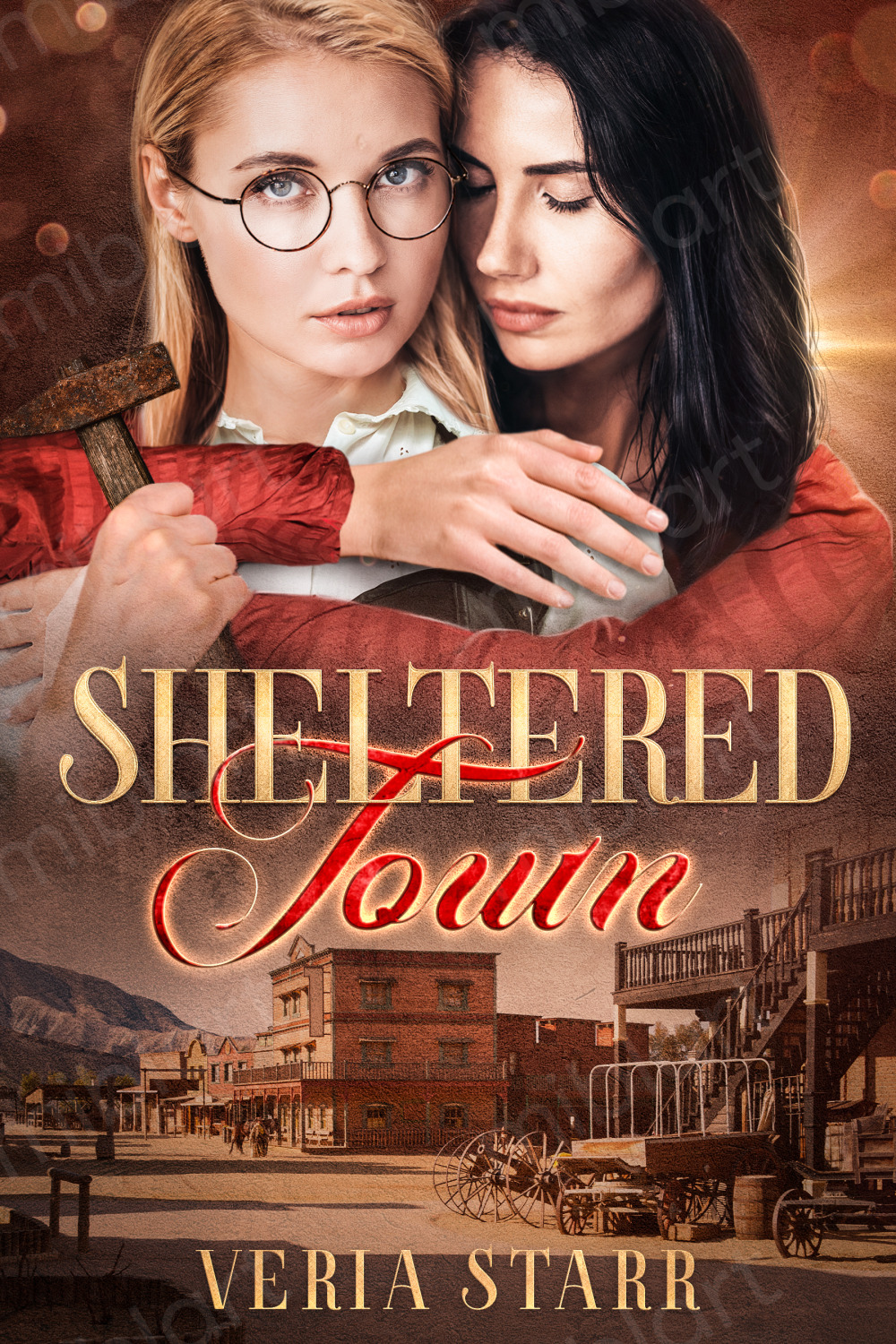 A book cover with a brunette woman holding a blond woman whose chin is tilted downward.