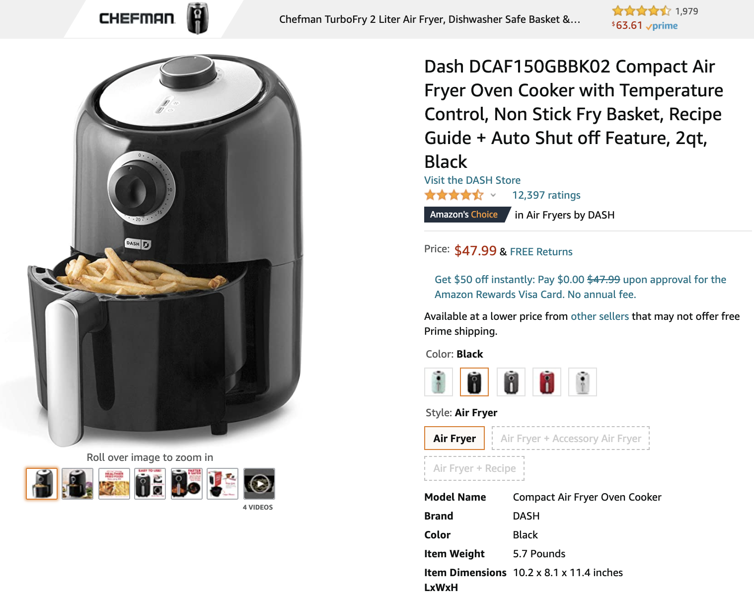 Amazon Manage Your Experiments: screenshot of a product listing for an air fryer