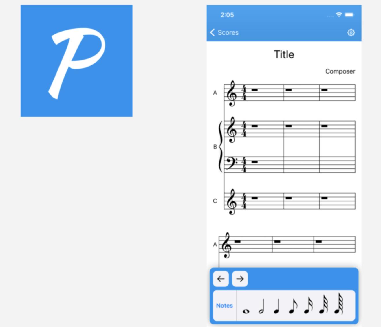 Screenshot of Option B's blue app icon for sheet music app poll