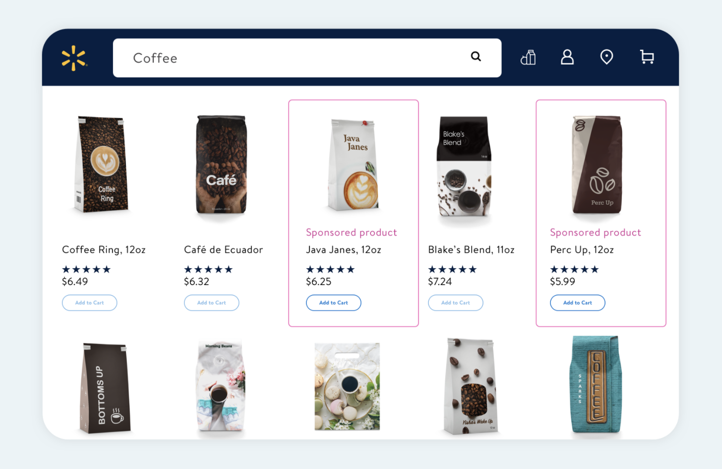 Walmart PPC tool: screenshot of Sponsored Products