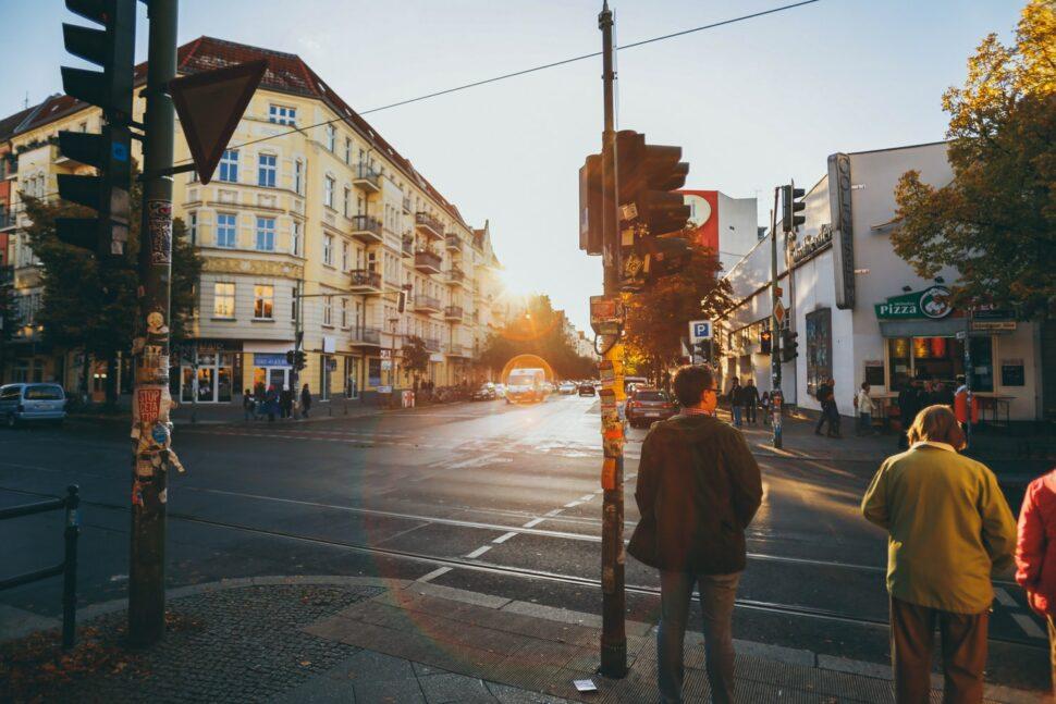 An image of people walking on a street in Berlin, Germany.