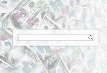 The search string is located on top of collage of many images of euro banknotes in denominations of