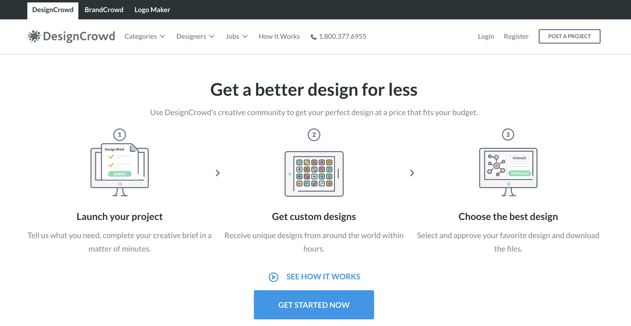 Screenshot of DesignCrowd, a 99designs alternative