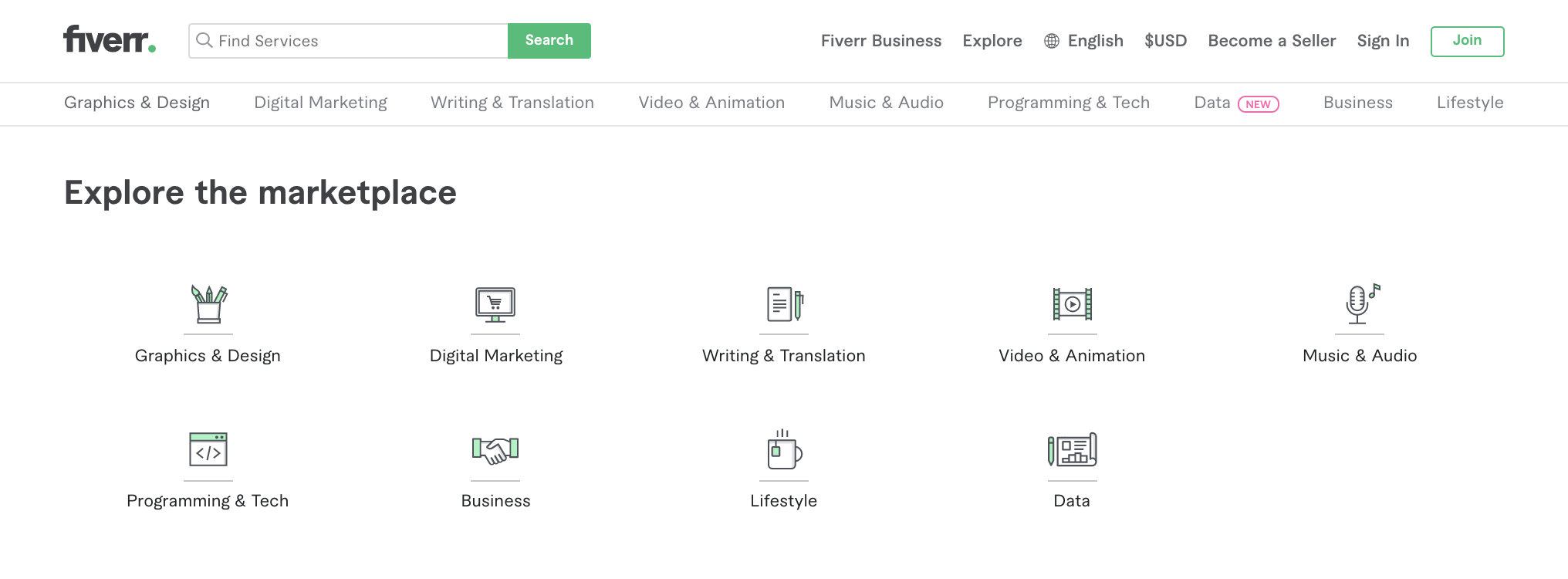 Screenshot of Fiverr, an alternative to 99designs