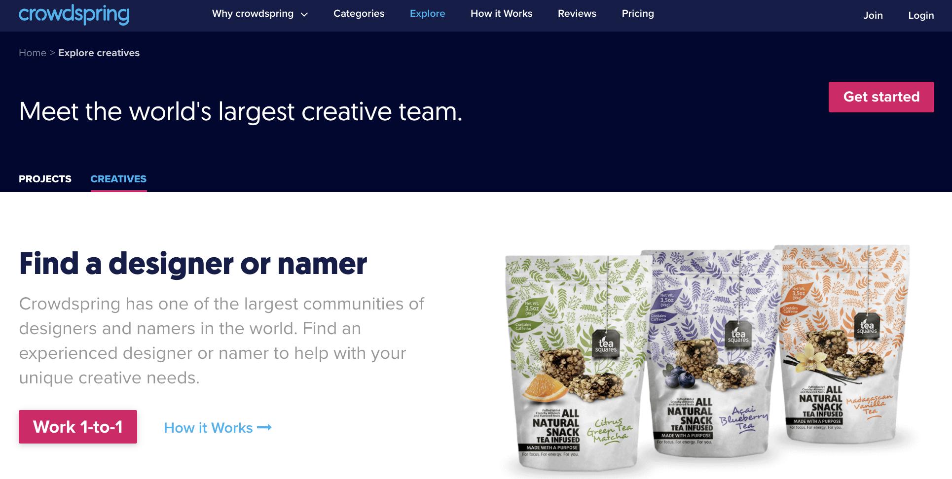 Screenshot of crowdspring, an alternative to 99designs.
