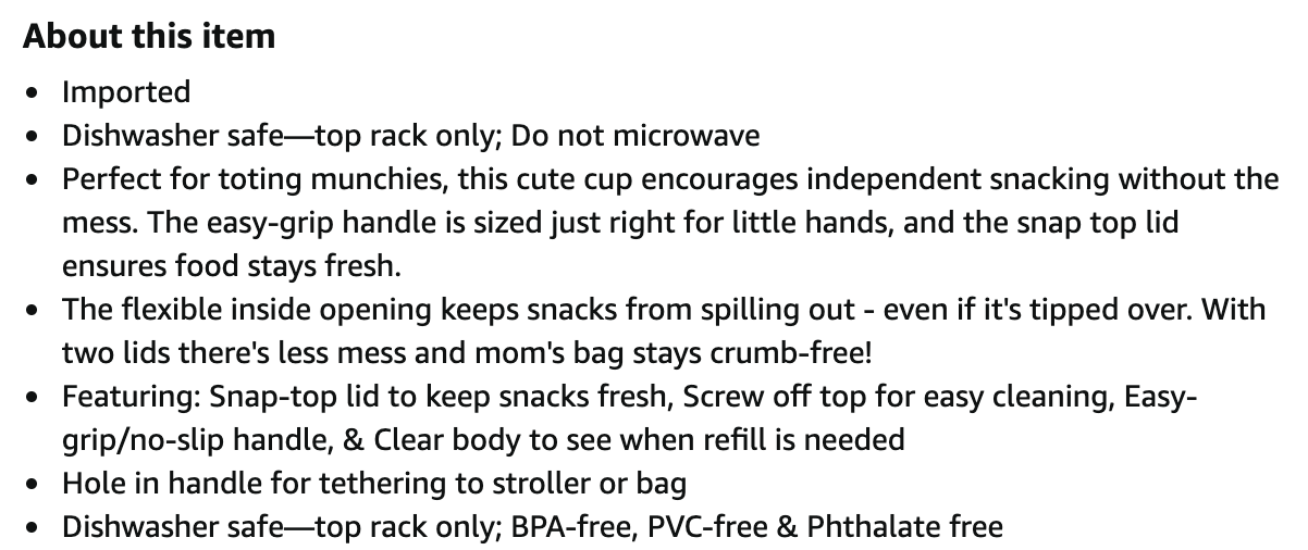 screenshot of product description for Skip Hop snack cup