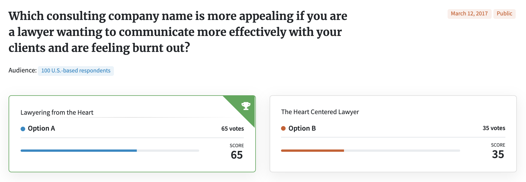 Test your business name: PickFu poll for a legal consulting company