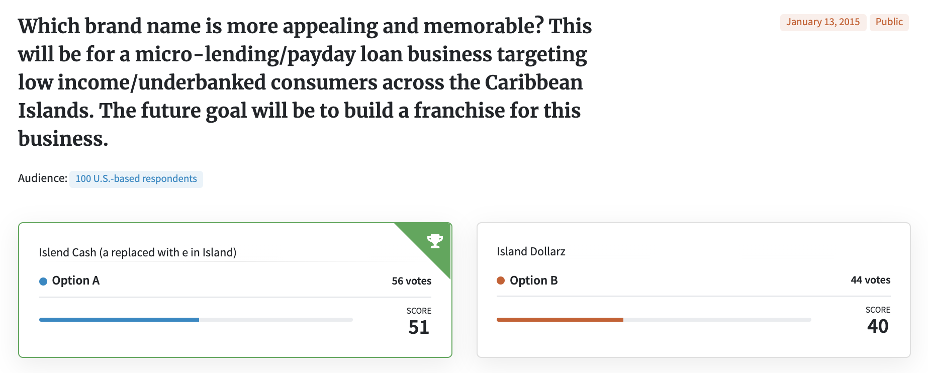 Test your business name: PickFu poll for a payday loan business