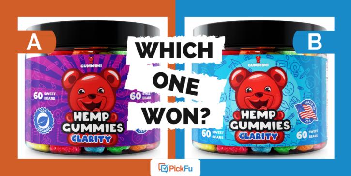 Which One Won: hemp gummy label split test