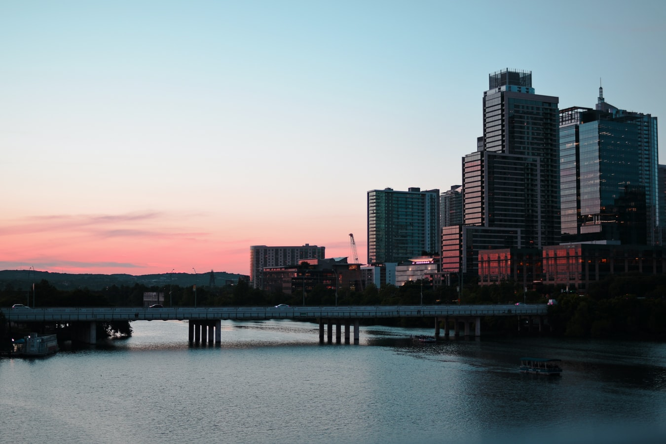 An Austin, Texas bridge at sunset.