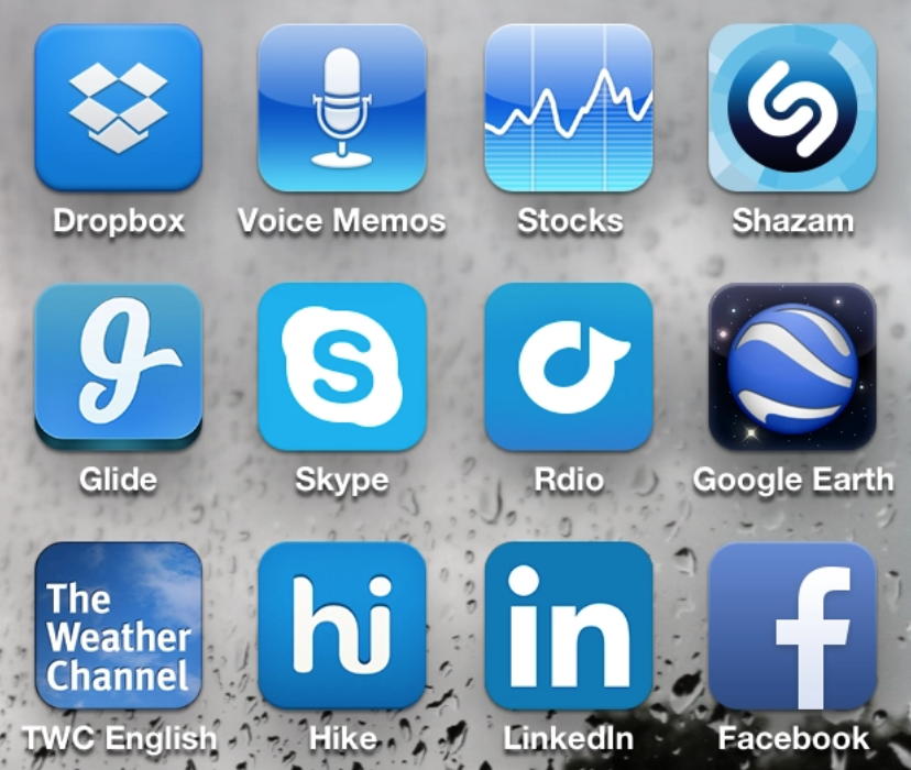 An image showing three rows of blue apps.