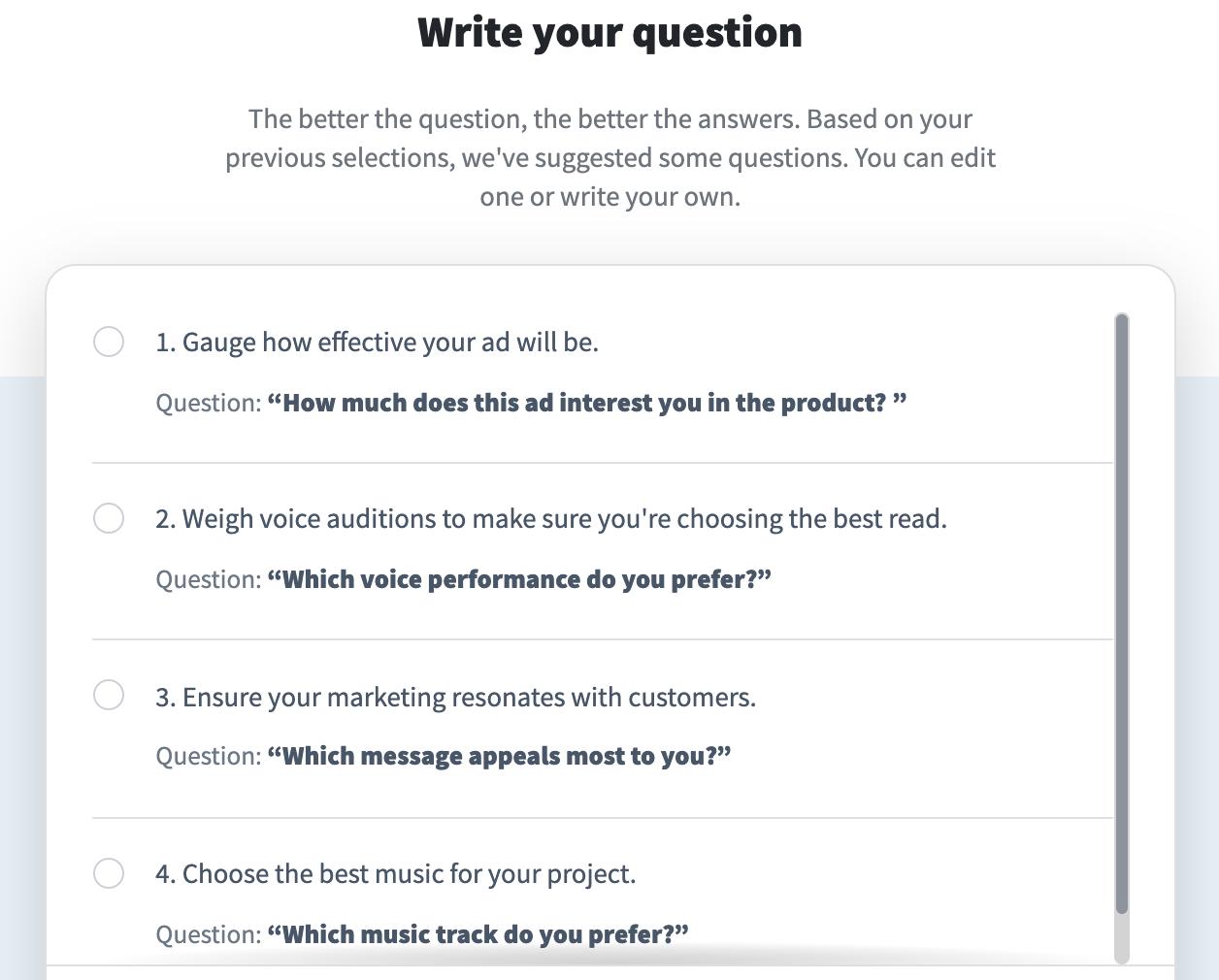 Screenshot of PickFu poll builder questions.