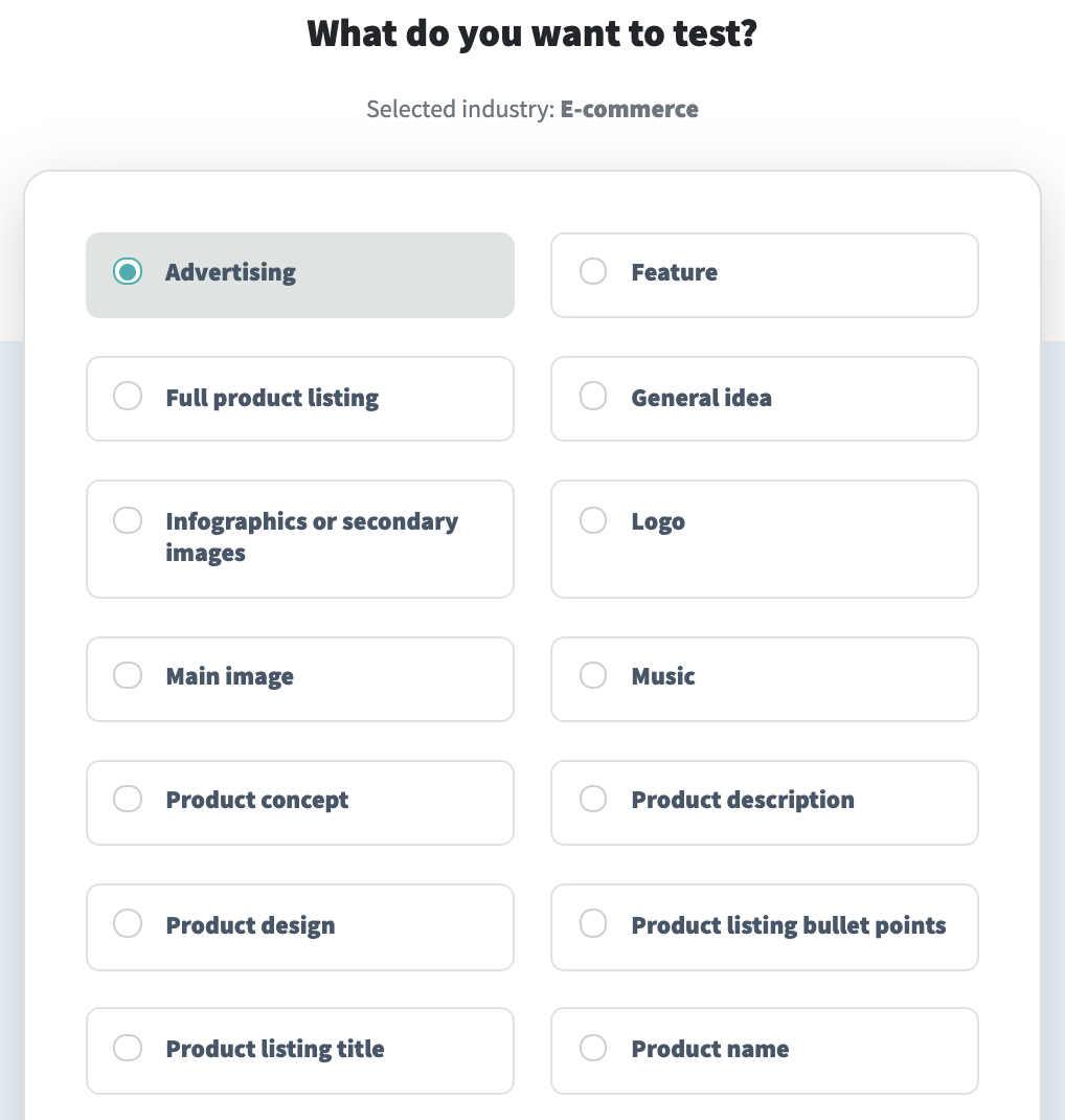 Screenshot of the PickFu poll builder to test advertising assets.