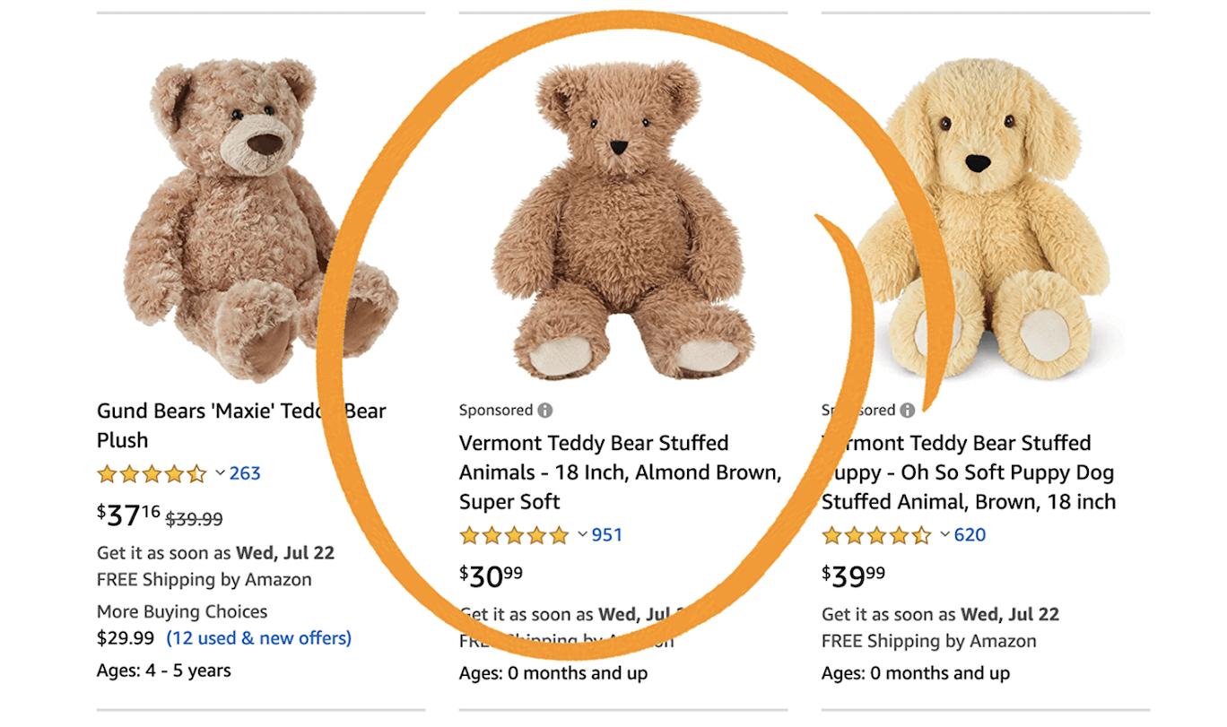 Screenshot of an Amazon Sponsored Ad for a teddy bear brand